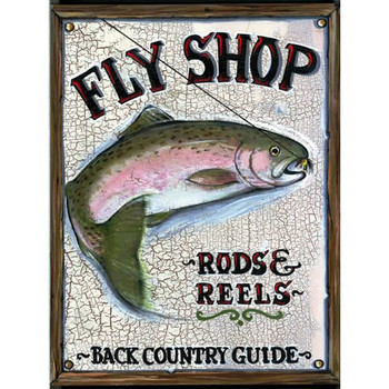 Custom Fly Shop Rods and Reels Vintage Style Wooden Sign