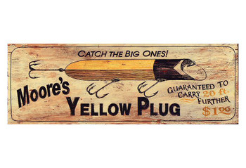 Custom Moores Yellow Plug Vintage Style Wooden Sign