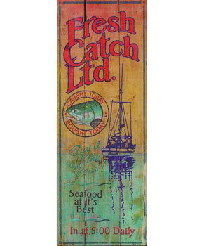 Custom Fresh Catch Ltd Vintage Style Wooden Sign