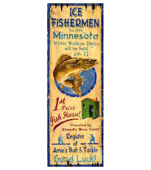 Custom Ice Fishing Vintage Style Wooden Sign
