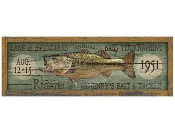 Custom Lake of the Ozarks Bass Tournament Vintage Style Wooden Sign