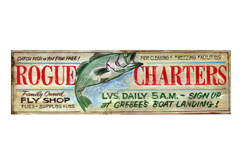 Custom Rogue Charters Vintage Style Wooden Sign