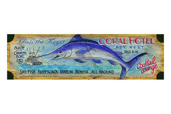 Custom Coral Hotel Key West Vintage Style Wooden Sign