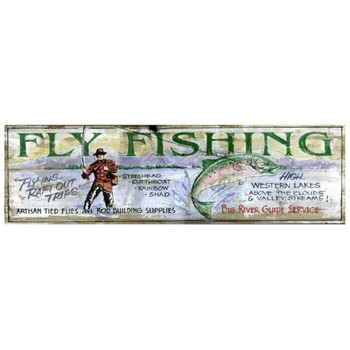 Custom Big River Fly Fishing Vintage Style Wooden Sign