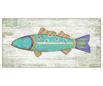 Funky Blue Fish Vintage Style Wooden Sign