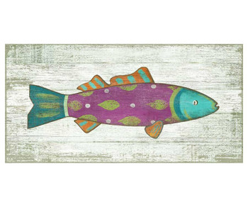Funky Pink Fish Vintage Style Wooden Sign