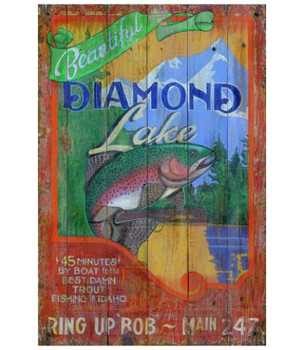 Custom Trout Diamond Lake Vintage Style Wooden Sign
