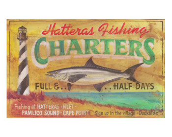 Custom Hatteras Fishing Charters Vintage Style Wooden Sign