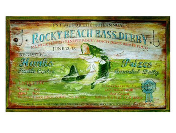 Custom Rocky Beach Bass Derby Vintage Style Wooden Sign