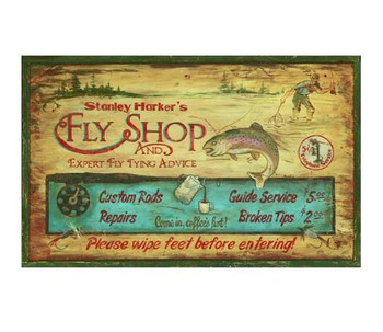 Custom Stanley Harkers Fly Shop Vintage Style Wooden Sign