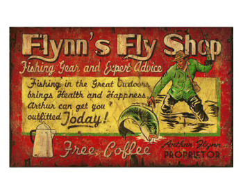 Custom Flynns Fly Shop Vintage Style Wooden Sign