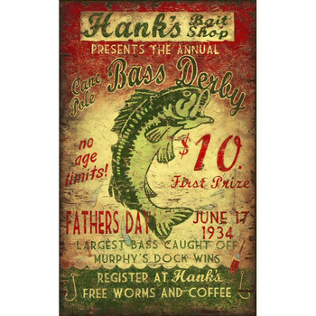 Custom Hanks Bait Shop Vintage Style Wooden Sign