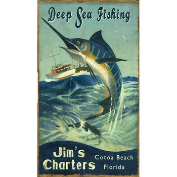 Custom Marlin Deep Sea Fishing Vintage Style Wooden Sign
