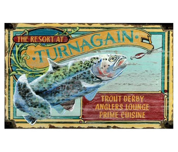 Custom Trout Fishing Resort Vintage Style Wooden Sign