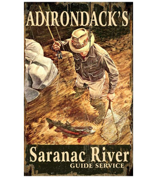 Custom Adirondack's Saranac River Fishing Vintage Style Wooden Sign