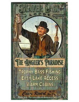 Custom Beaver Lake Trophy Bass Fishing Vintage Style Wooden Sign