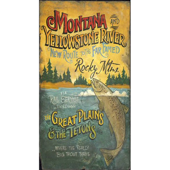Custom Montana and Yellowstone River Vintage Style Wooden Sign