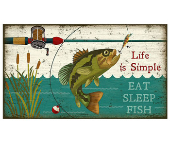Custom Eat Sleep Fish Vintage Style Wooden Sign