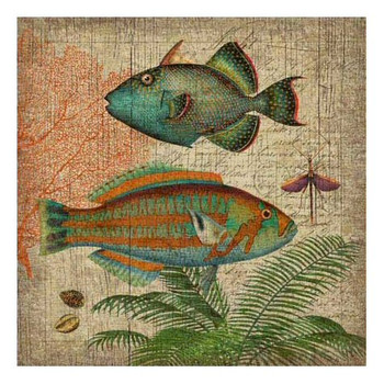 Natural History with Blue Fish Vintage Style Wooden Sign