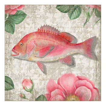 Pink Snapper Fish Vintage Style Wooden Sign