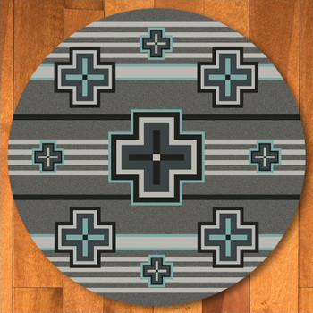 8' Bounty Turquoise Southwest Round Rug