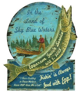 Custom Muskie Epperson Guide Service Vintage Style Wooden Sign