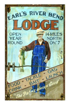 Custom Earl's River Bend Lodge Vintage Style Wooden Sign