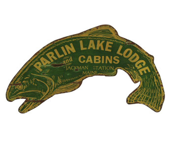 Custom Fish Parlin Lake Lodge and Cabins Vintage Style Wooden Sign