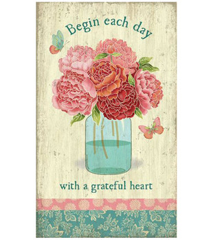 Custom Mason Jar with Flowers Vintage Style Wooden Sign