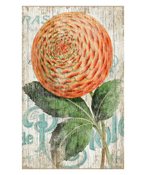 Zinnia Orange Flower Vintage Style Wooden Sign