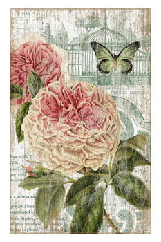 Jardin Pink Flowers & Butterfly Vintage Style Wooden Sign