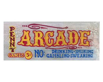 Custom Arcade Vintage Style Wooden Sign