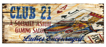Custom Club 21 Gaming Salon Vintage Style Wooden Sign