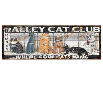 Custom Alley Cat Club Vintage Style Wooden Sign