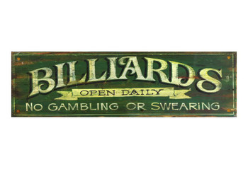 Custom Billiards Green Vintage Style Wooden Sign