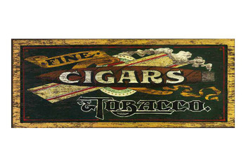 Custom Fine Cigars Tobacco Vintage Style Wooden Sign