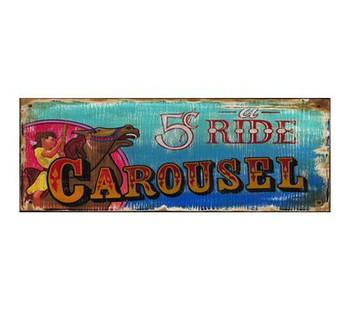 Custom Carousel Vintage Style Wooden Sign
