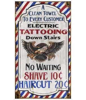 Custom Tattooing Shave Haircut Vintage Style Wooden Sign