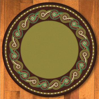 8' Rolling Water Multi Color Cherokee Inspired Round Rug