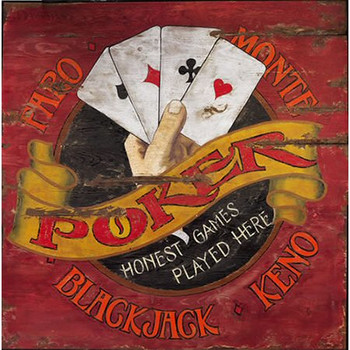 Custom Faro and Poker Vintage Style Wooden Sign