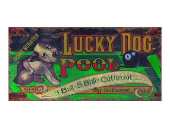 Custom Large Lucky Dog Pool Vintage Style Wooden Sign