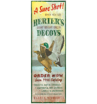 Custom A Sure Shot Herters Decoys Vintage Style Wooden Sign