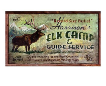 Custom Harrisons Elk Camp and Guide Service Vintage Style Wooden Sign