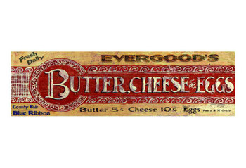 Custom Evergoods Butter Cheese Eggs Vintage Style Wooden Sign