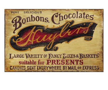Custom Bonbons Chocolates Vintage Style Wooden Sign
