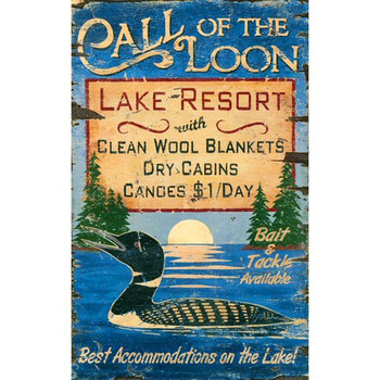 Custom Call of the Loon Lake Resort Vintage Style Wooden Sign