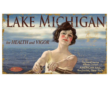 Custom Lady Rowing on Lake Michigan Vintage Style Wooden Sign