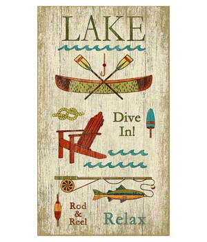 Custom Lake Activities Vintage Style Wooden Sign