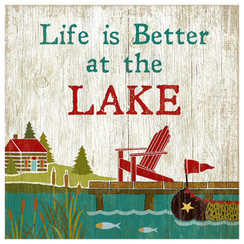 Custom Life is Better at the Lake Vintage Style Wooden Sign