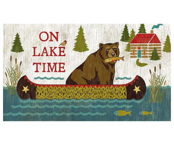 Custom On Lake Time Bear with Fish Vintage Style Wooden Sign